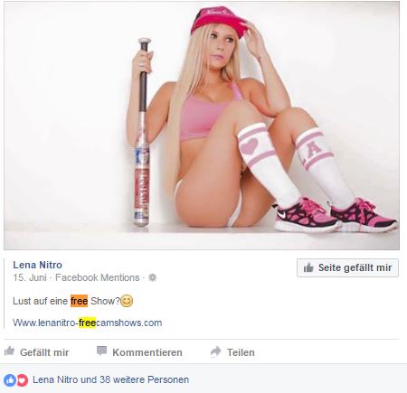 Lena Nitro mit Baseball Schläger FB Posting 15. Juni